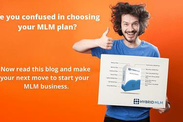 a man standing with a card | Hybrid MLM Software